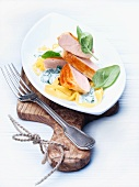 Breast of spring chicken with Gorgonzola sauce and ribbon pasta