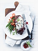 Rump steak with blue cheese butter and green beans