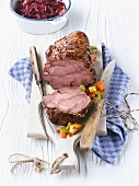 Roast wild boar with red cabbage