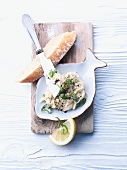 Mackerel spread and a slice of bread