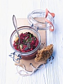 Beetroot spread with linseed bread