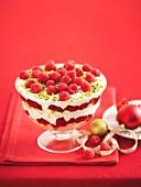 Raspberry and yogurt trifle