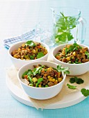Minced meat curry with vegetables and fresh coriander on a bed of rice
