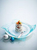 Christmas pudding ice cream (vanilla ice cream with dried fruit)