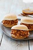 Pulled Barbecue Chicken Sandwiches on a Tray