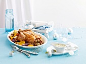 Roast chicken with cranberry stuffing