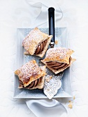 Puff pastry slices with chocolate cream