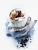 Mocha with coffee ice cream and grated chocolate