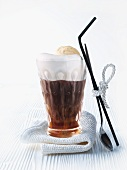Eiskaffee (iced coffee drink) with vanilla ice cream