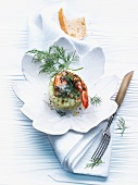 Pickled shrimp on cucumber timbale