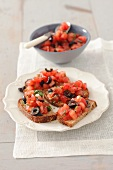 Bruschetta with tomatoes and olives