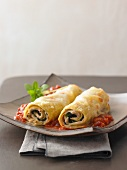Cannelloni with chard and tomato sauce