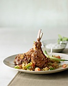 Lamb cutlets with herb butter on couscous