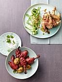 Tandoori chicken and Thai chicken