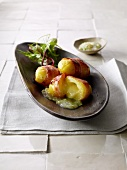 Raclette potatoes with pickle relish