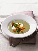Nettle soup with croutons and sour cream