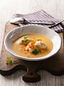 Potato soup with fish dumplings