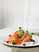 Marinated salmon with diced red beets and horseradish sauce