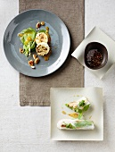 Baked goat cheese and stuffed rice paper rolls