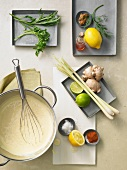 Hollandaise sauce and assorted ingredients