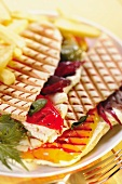 Panini with goat cheese and grilled vegetables