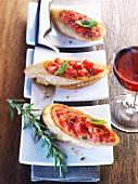 Bruschetta, rosemary and red wine