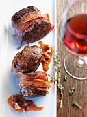 Venison medallions wrapped in bacon