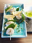 Monkfish kebabs with lemons