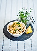 Ribbon noodles with lemon pesto