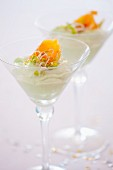 Avocado mousse with edible shoots and smoked salmon