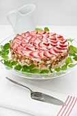 Festive quark cake with fresh strawberries