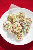 Macaroons with multi-colored sugar sprinkles