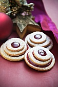 Terrace cookies with cherry jam