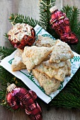 Christmas tree-shaped, puff pastry, vanilla cookies with pine infused sugar