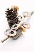 Vanilla 'ring' cookies with colored sugar sprinkles