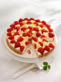 Quark cake with pineapple and strawberries