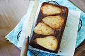 Pear and chocolate upside-down cake