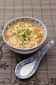 Noodle soup from China with chopped chives