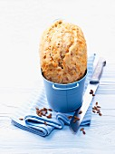 Carrot bread in a blue bucket