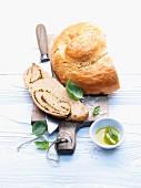 Pesto bread on a chopping board