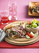 Sandwich with minute steak and a winter coleslaw