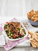 Fattoush with strips of beef fillet (North Africa)