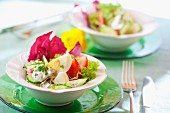 Egg salad with cucumber, tomatoes, chives and radicchio