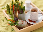 Spring rolls with asparagus and cress, chilli dip (Asia)
