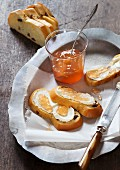 Hefezopf (sweet bread from southern Germany) with fresh goat's cheese and quince jelly