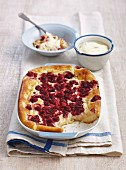 Baked semolina with raspberries