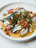 Oven-baked herrings with vinegar and tomato sauce