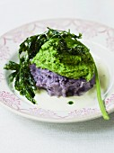 Pea purée and mashed potato made with purple potatoes