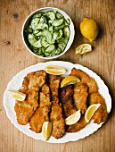 Wiener Schnitzel (breaded veal escalope from Vienna) with cucumber salad (view from above)
