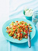 Middle Eastern bulgur salad with peppers, coriander and mint